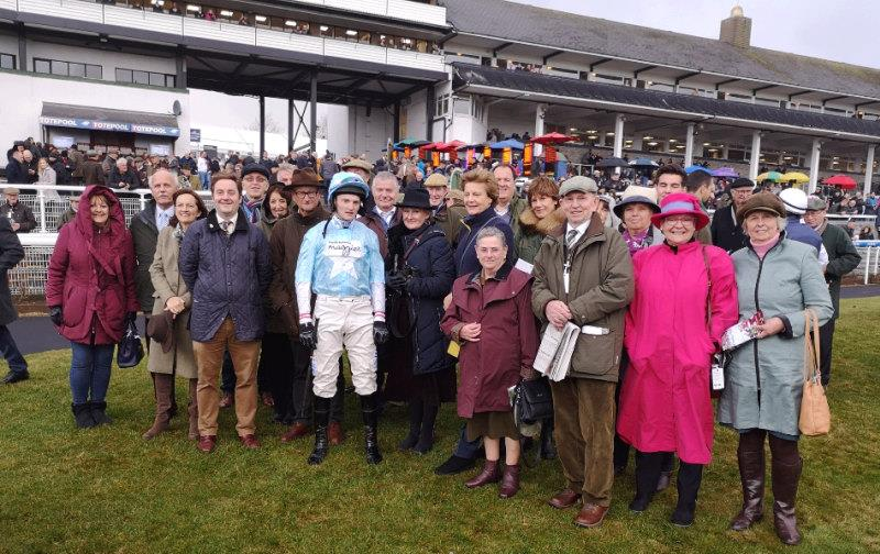 The team from Racing For Maggies with Another Ventures jockey Mikey Hamill