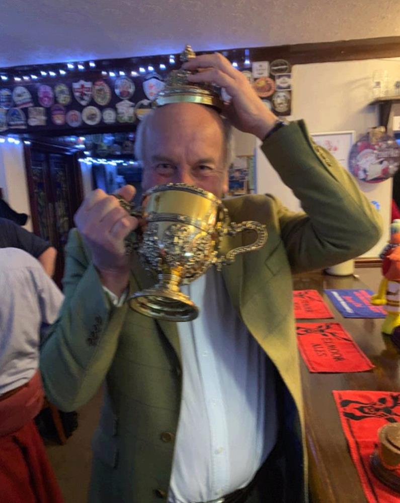 David Martin celebrating last night.. rightly so..The Peterborough Chase Cup being used for it should be..