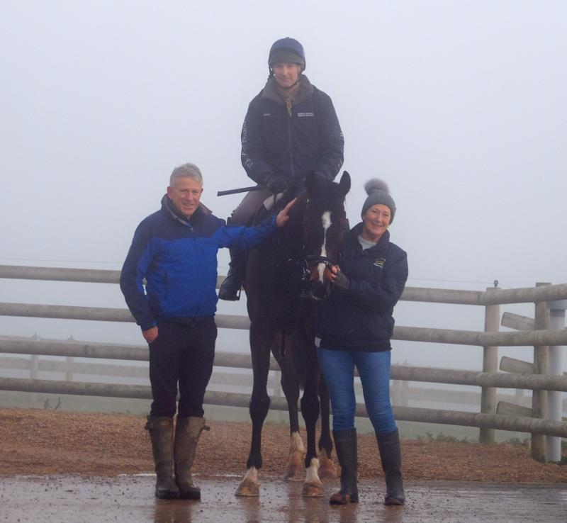 Rob and Kathy George with their horse Hes No Trouble
