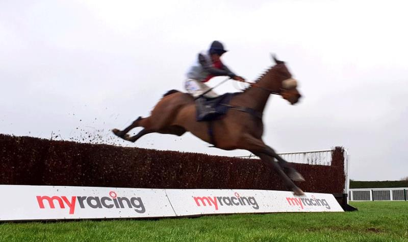 A rather out of focus photo of Bandon Roc flying over the last in front