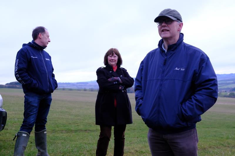 Peter, Angie and Iain at the top of the gallops