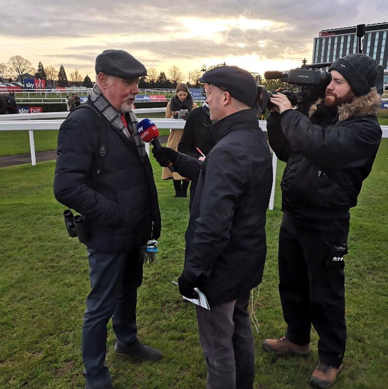 Winning owner Norman Carter being interviewed by Luke Harvey