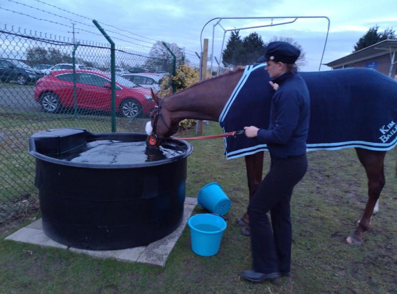 Leigh, who won best turned out award giving Miss Gemstone a drink.. large bucket!