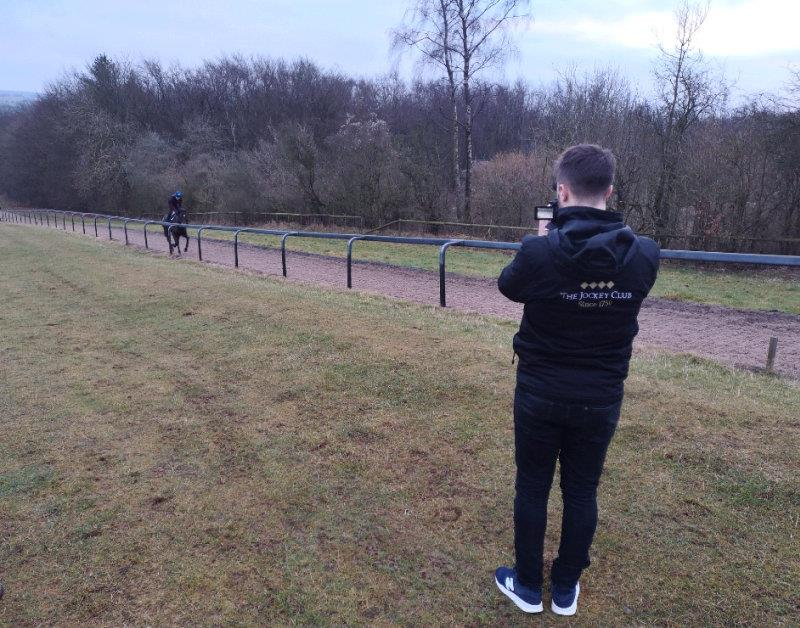Kyle Mitcheison  filming our possibe Cheltenham runners.