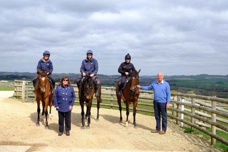 Julie and David Martin with their horses Gallows Point, Minella Warrior and Charbel