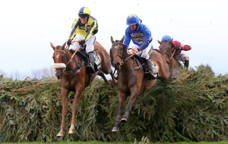 The Last Samuri and David Bass jumping the last in the 2016 Randox Health Grand National.
