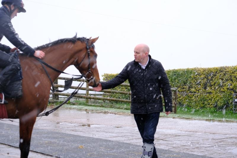 Richard Sheppard talking to his horse Winter Glory