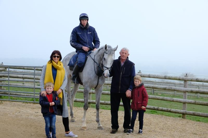 Steve Adams and daughter Clare with Zander and Arty and Silver Kayf