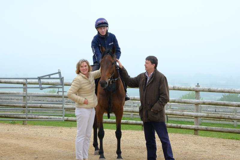 Sandra and Martyn with their Midnight Legend filly out of Black Collar