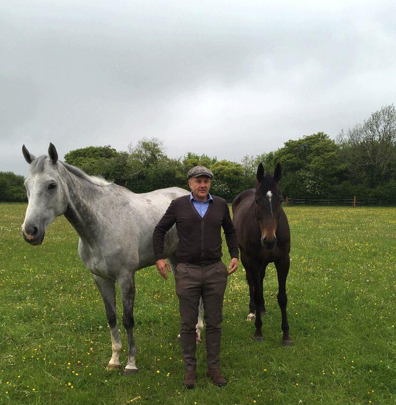 John Benson with his two horses Silver Kayf and Vinndication
