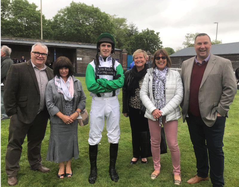 David Bass with  Arthurs Sixpence's owners.Before the race