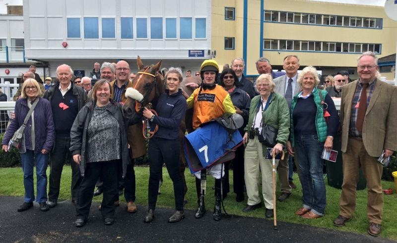 The Belle Stars and their horse Yeavering Belle in the winners enclosure