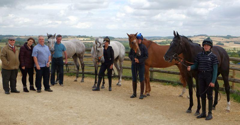 Don and Vince Burmingham with Michelle Griffiths with Vince's KBRP horses Silver Eagle, Knockanrawley, Savant Bleu and Milord.