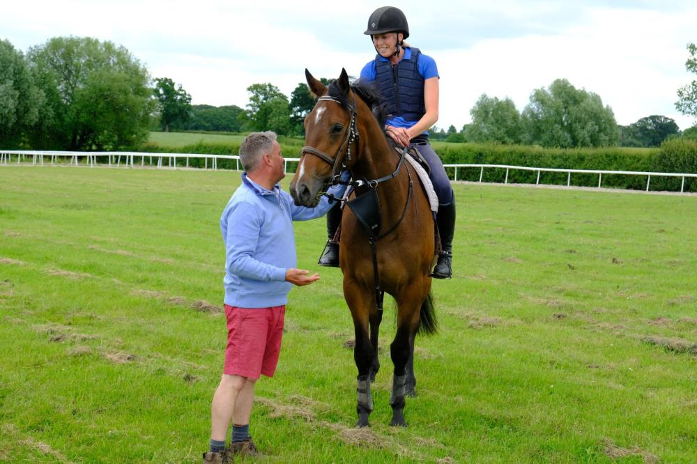 Martin Jones with the 3 year old gelding by Valirann (FR) x Broken Thought. Alex riding