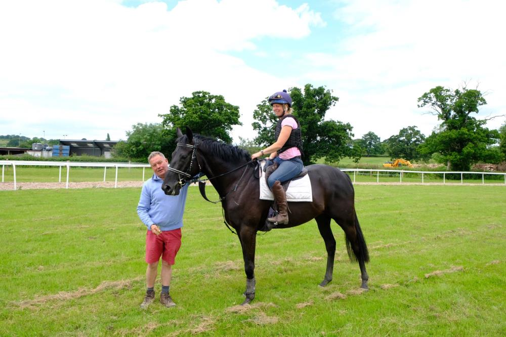 Martin Jones with the 3 year old gelding by Sageburg (IRE) x Slevoy Ahoy.. Megan riding