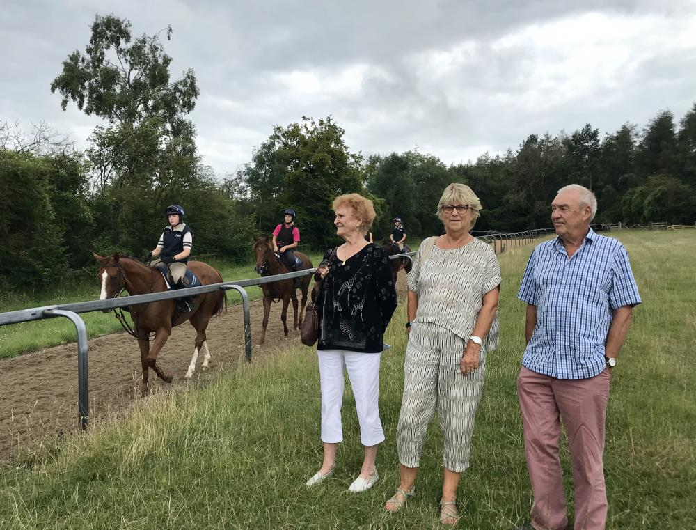 Alan & Sally James with friend Carol from Canada on the gallops