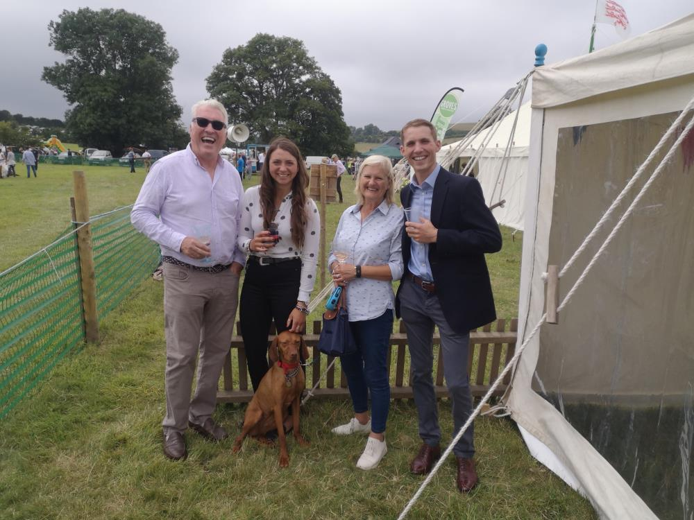 Demot, Bryony Frost, Vicky and Harry Cobden outside the sponsors tent