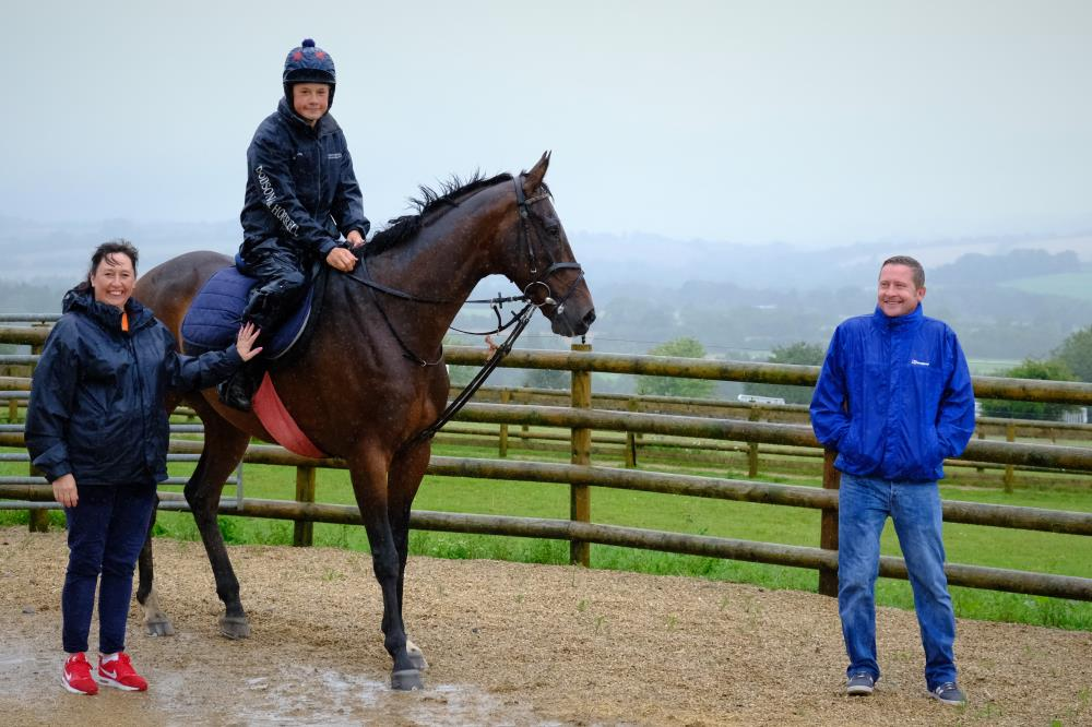 Julie and Andy Wilkinson who were here for a morning (wet) on the gallops and breakfast.. Meeting Station Master