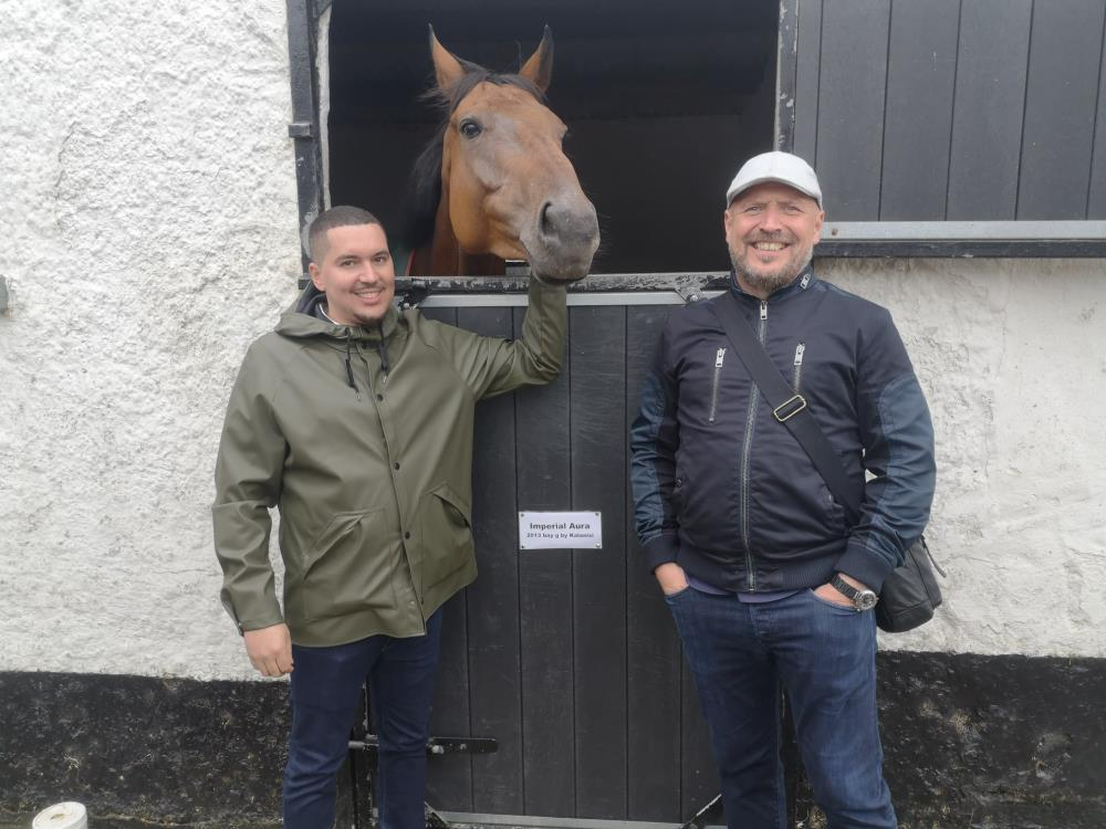 James Goddard and Dean Perkins with their horse Imperial Aura in Ireland yesterday