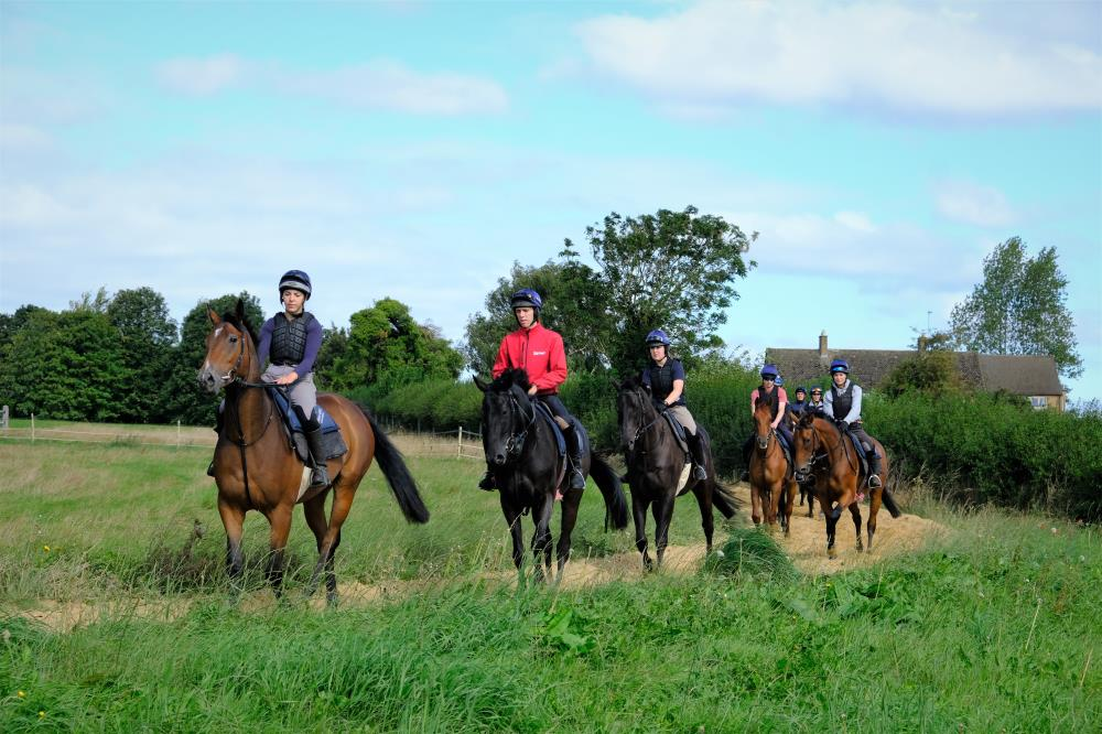 Youngsters having their first day on the round gallop