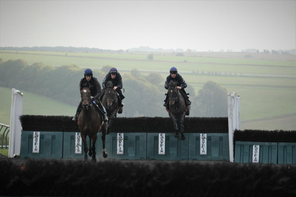 Charbel leading Commodore Barry and Minella Warrior over the plastic fences