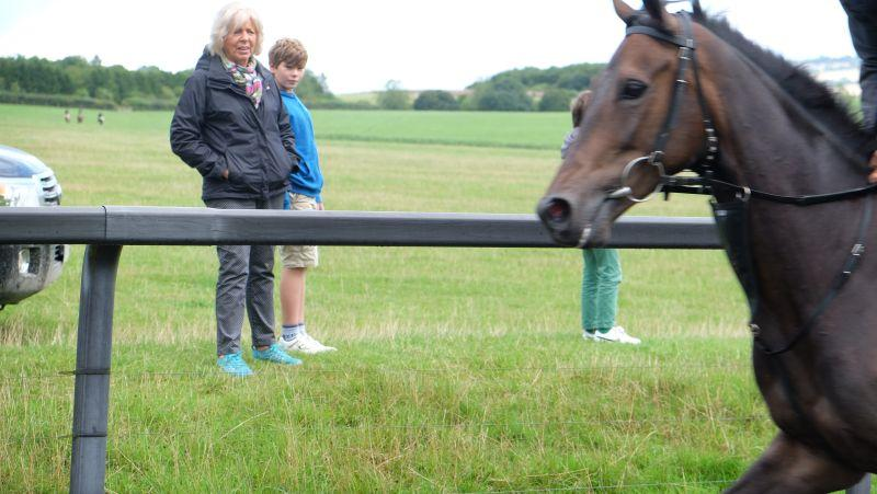 Sylvia Dibben watching her horse Viaduct Jack fly past..