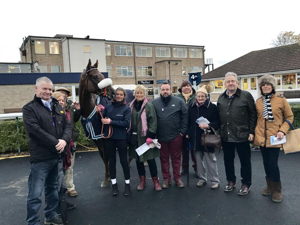 Shinobi and his owners after finishing 4th at Huntingdon