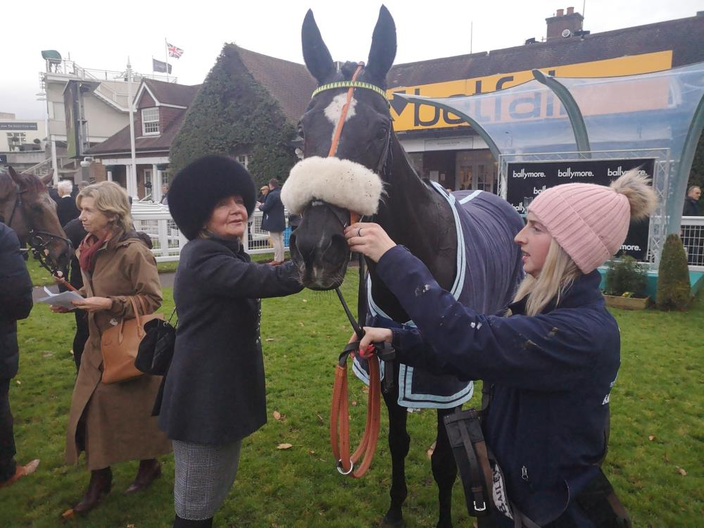 Mary Dulverton with Happygolucky at Sandown yesterday.. third..