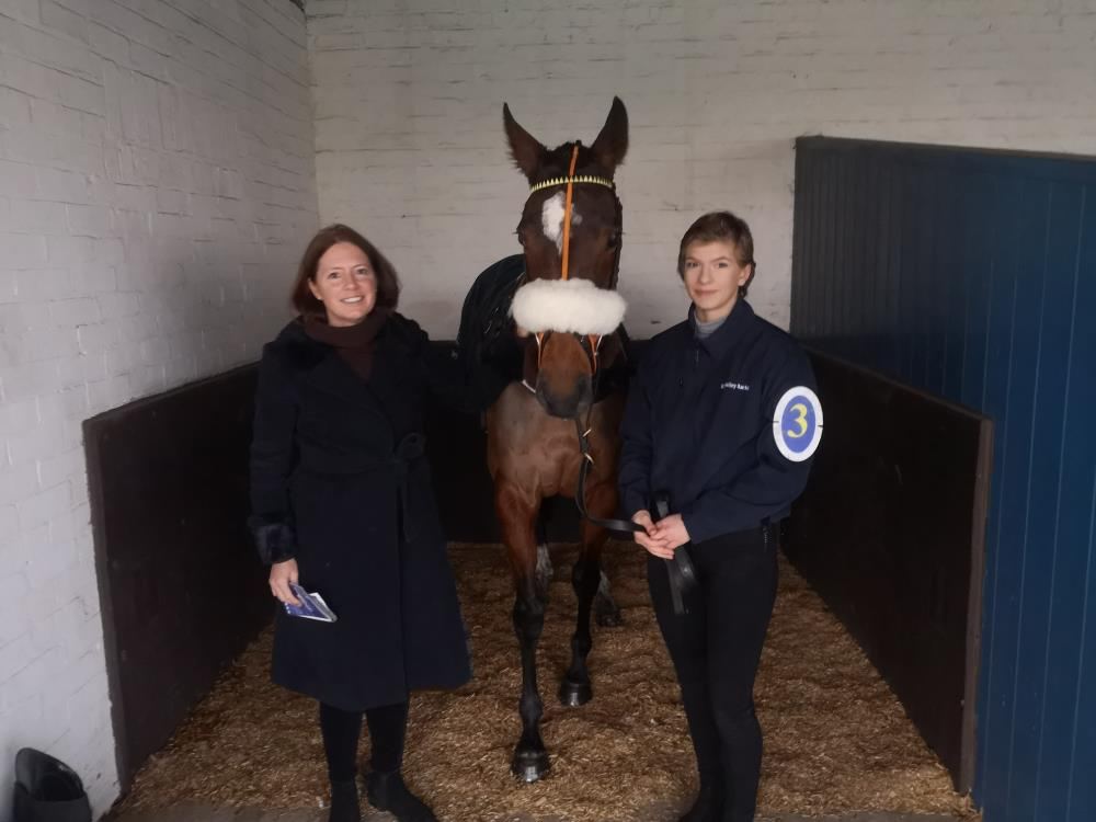 Emma Buchanan with her mare Sea Story and Jessica who was having her first days racing yesterday at Leicester
