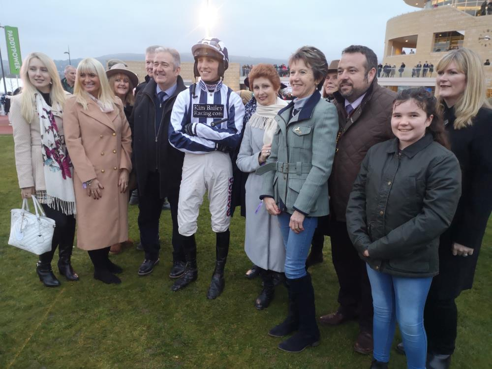 Shinobi's owners with their jockey Harry Cobden
