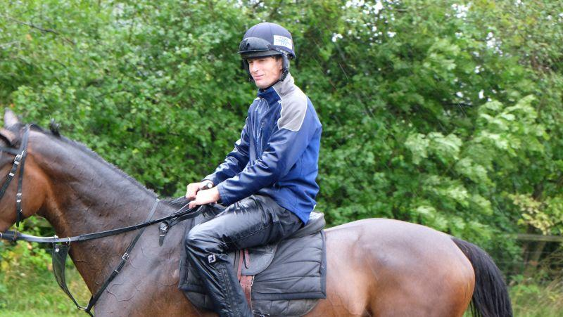 Ed Cookson looks happy riding out in the rain