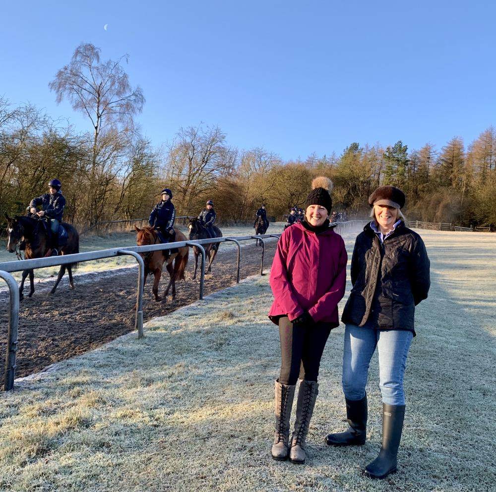 Francess and Veronica who were here for a morning on the gallops