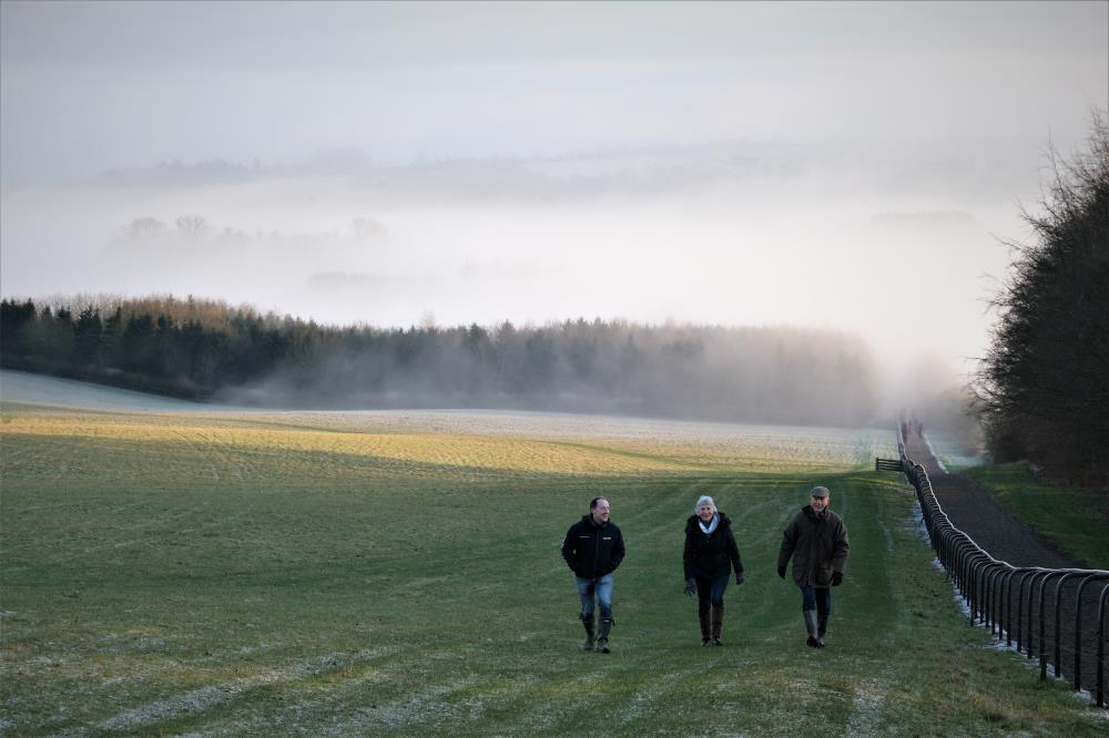 Peter, Sylvia and Doug walking up the gallops second lot