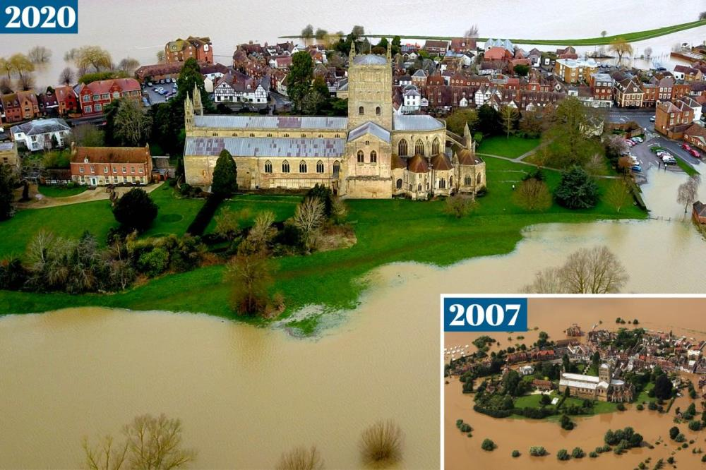 Tewkesbury Abbey yesterday morning and in 2007
