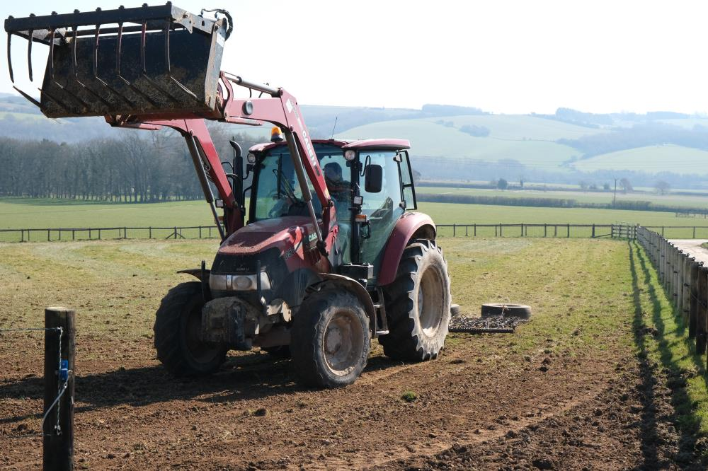 Mat harrowing the paddocks
