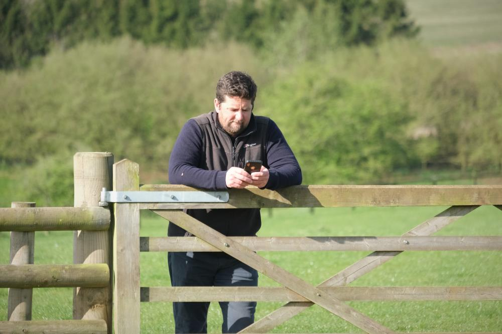 Gate duty..Mat waiting for the horses .. time for everything including to check his mobile?