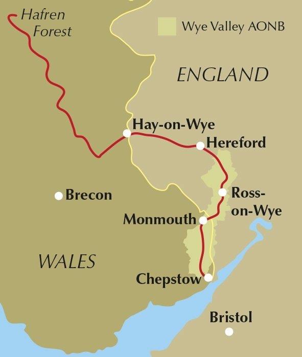 A map of the River Wye in red..The border of England and Wales in Yellow.. Bigsweir is just below Monmouth