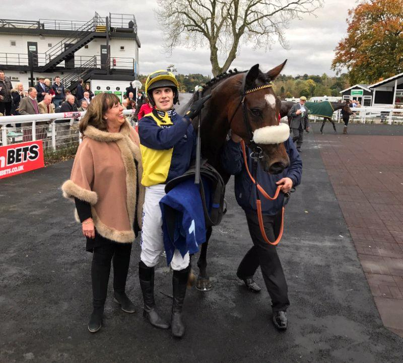 Julie after Charbel won his first chase at Uttoxeter.