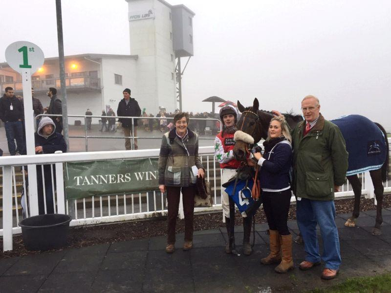 Melinda and Mark Laws after Ben Arthur's win at Ffos Las