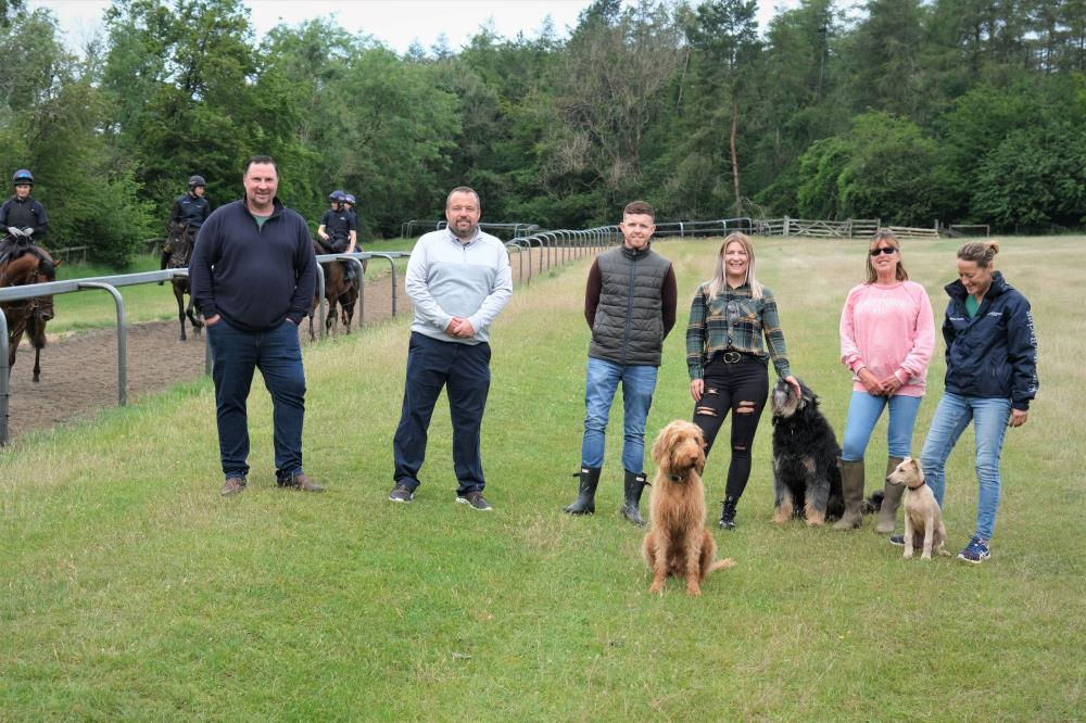 Darren, Ian, Matt, Charlotte, Geri and Clare with Dougie and Golbert's first morning on the gallops..
