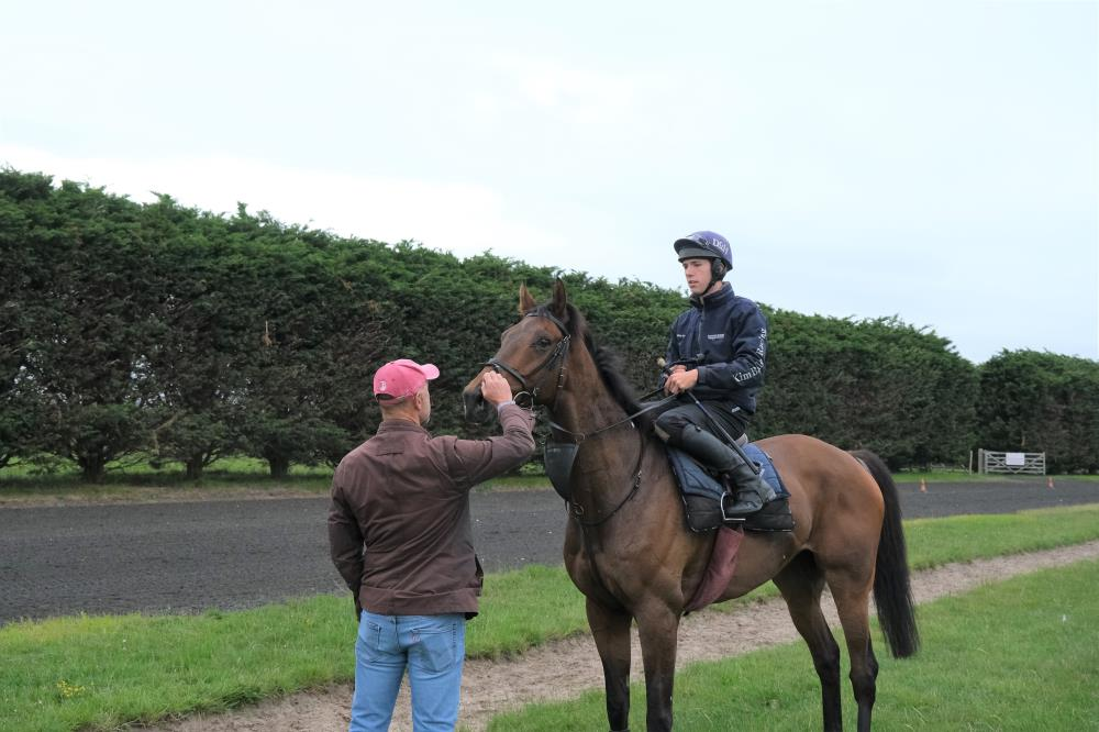 Tim Syder talking to his horse Thibault