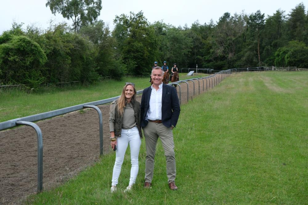 Nick Weston and Nicole O'Connor on the gallops