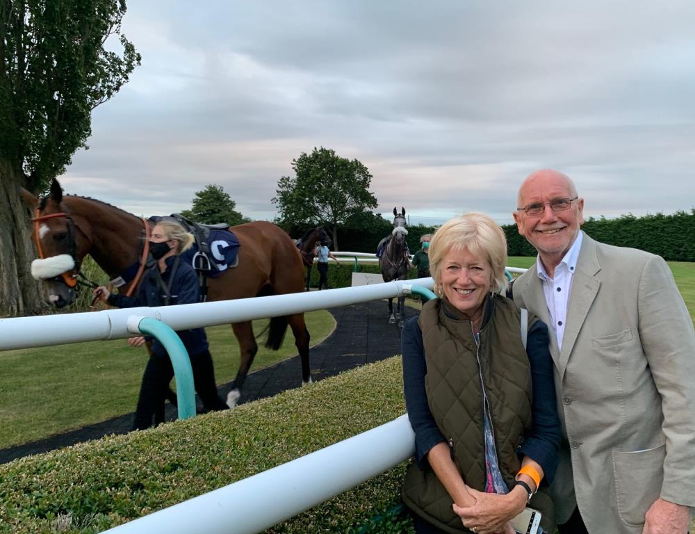 Tony and Lindy Elphick with their horse passing by last night at Southwell