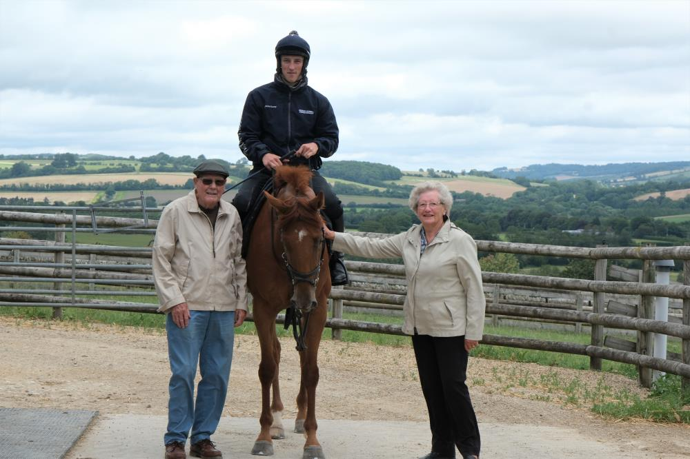 Peter and Olive Smith on their first day out after lock down.. Their wedding anniversary.. With their KBRP horse Shantou Express.