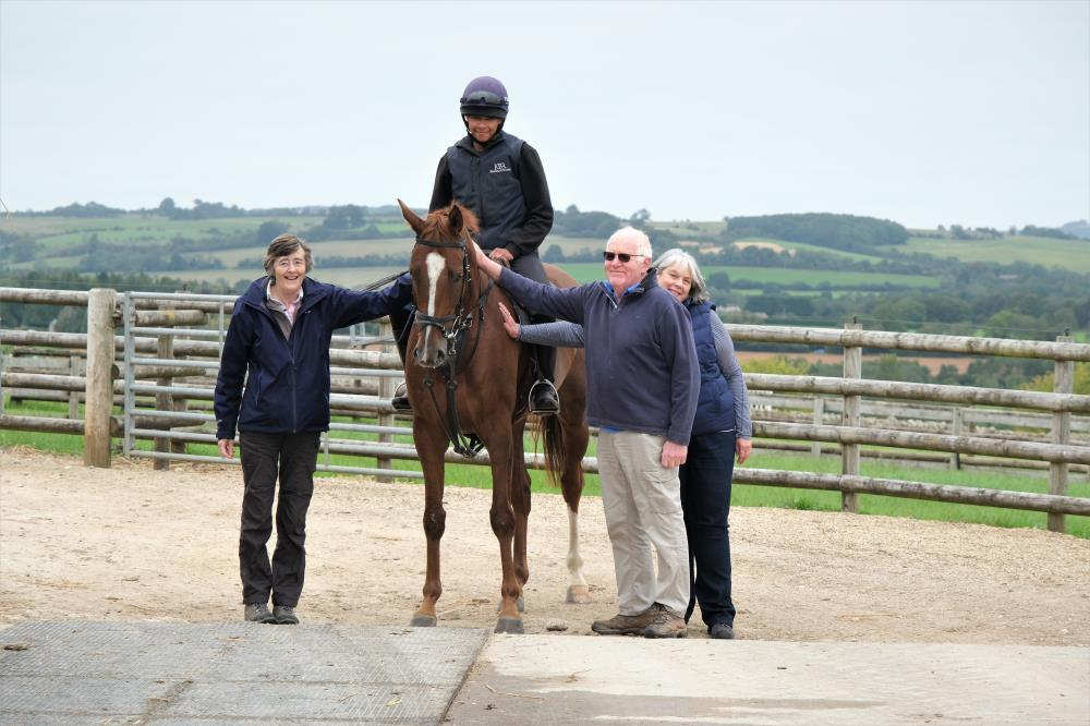 Melinda Laws and Peter and Fiona Woodhall with their horse Equus Dreamer