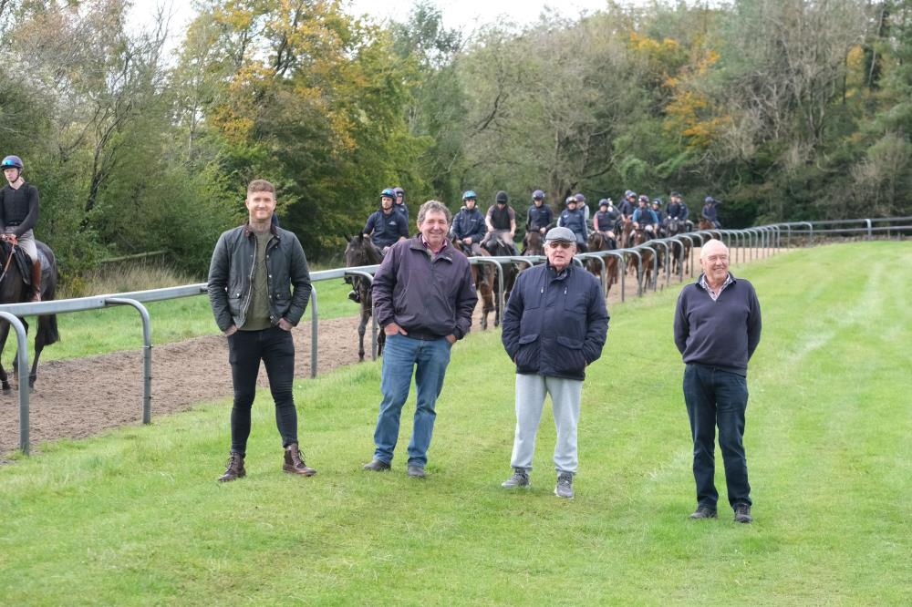 Griff, Maurice Emtage, Trevor Search and Alan on the gallops