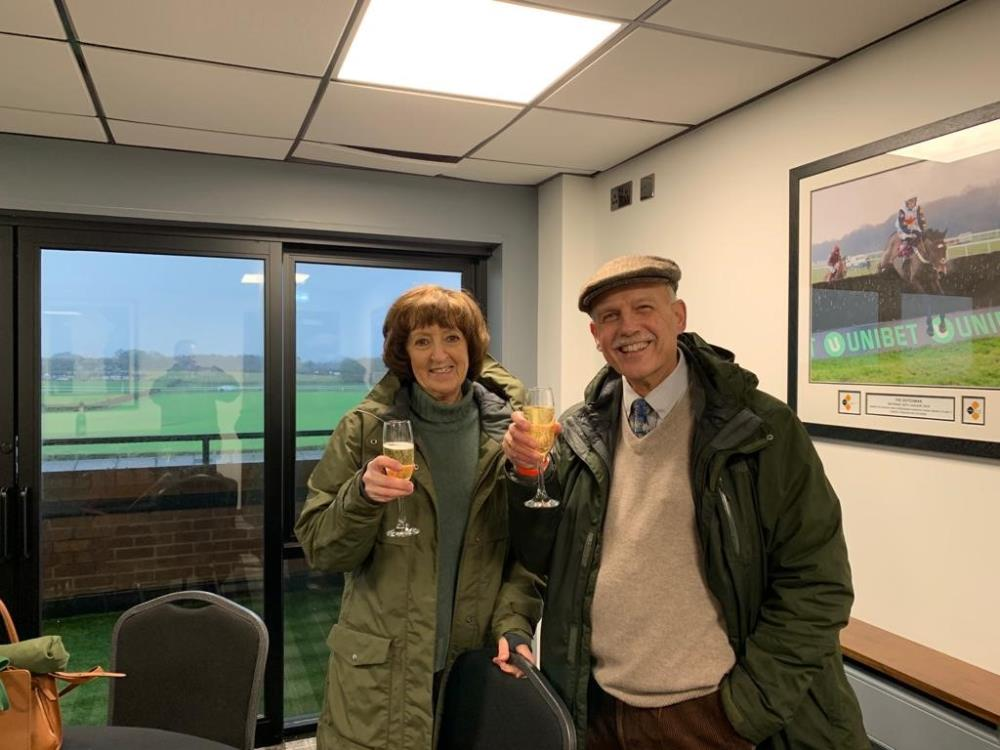 John and Veronica Full celebrating their 20th winner with us since coming here for a Morning on the gallops and breakfast..CD tours..