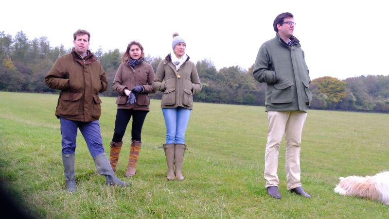 Edward Lucas, Poppy Fildes, Zoe and Thady Voorspury who were here for a charity morning on the gallops