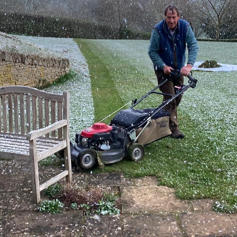 Snowing while mowing!!