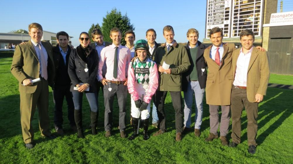 The Young Pretenders .Charles Woodhouse, Chris Hillier, Kate Trowbridge, Ben Rodger, Chris Palmer, Tom Cary, Marcus Morris-Eyton, Harry, Bruce Mason, Henry Larthe and Guthrie Brunton with their jockey Tom Bellamy